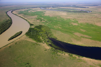 Aerial view of the meandering Saint George branch of the Danube river, Danube Delta Biosphere Reserve UNESCO World Heritage S...