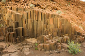 Dolorite formation called organ pipes was formed about 120 million years ago when the dolorite shrank as it cooled, near Twij...