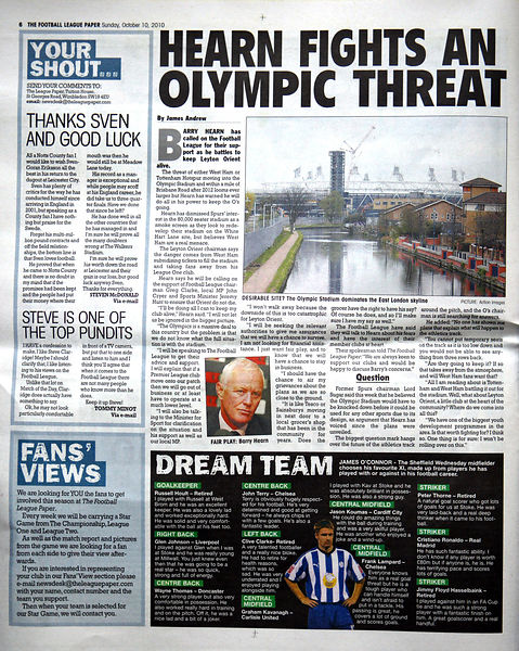 The Football League Paper 10 October 2010.2926187 - Steven Paston
