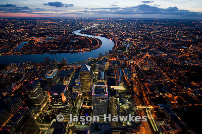 Dusk aerial view over Canary Wharf Development, London