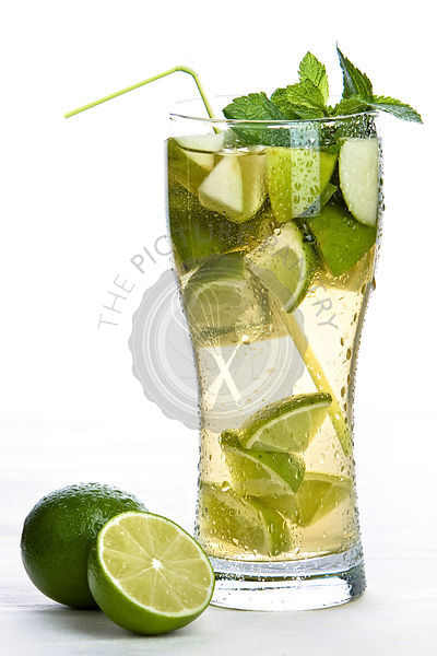 Glass of iced tea on white background