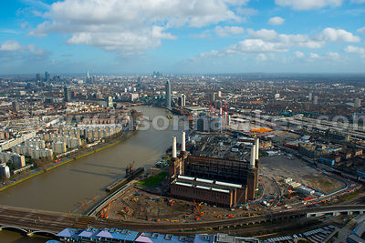 Aerial view of Battersea Power Station, London