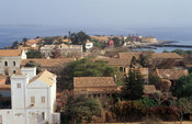 View over Goree island from Le Castel, a rocky outcrop on the island, Goree Island, Senegal
