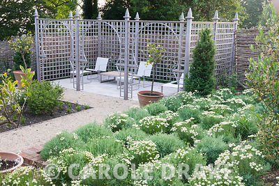 Newly planted Persian garden with screened seating area and formal planting including squares of box and Ilex crenata and slo...