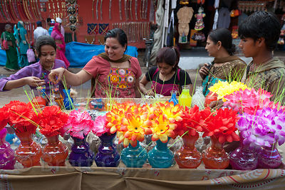 Plastic flowers for sale in Pushkar, Rajasthan, India