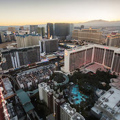 Aerial view of the Flamingo Hotel and surrounding buildings seen from giant ferris wheel, Las Vegas, Nevada, USA