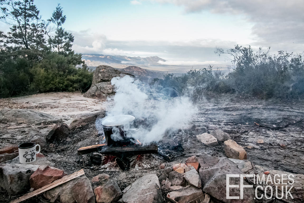 Mountain Top Camp Fire At Breakfast Time In The Grampians