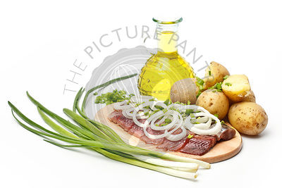 Herring with boiled potato and onion