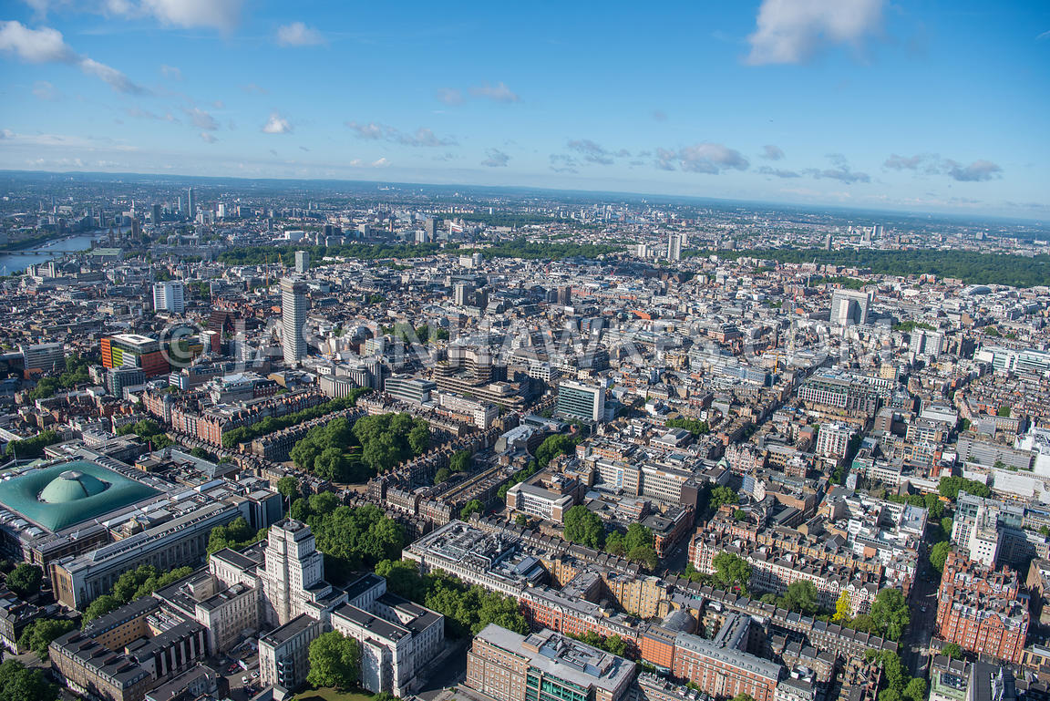 Aerial view of London  British Museum and Centrepoint