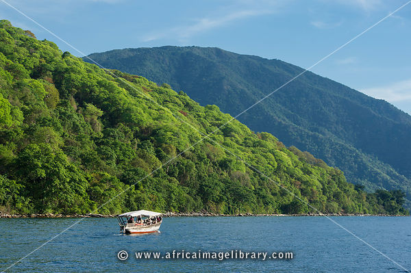 Tourist boat on Lake Tanganyika, Mahale Mountains National Park, Tanzania
