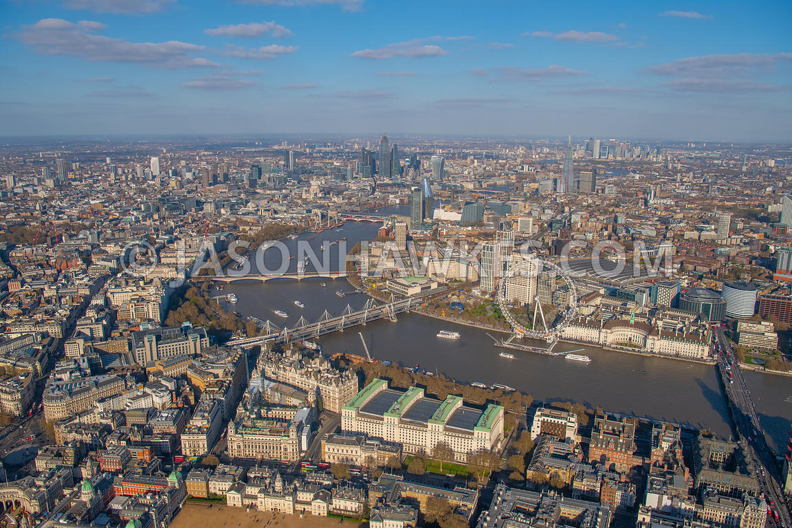 Aerial view of Whitehall, River Thames, andf SouthBank, London.