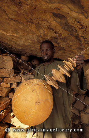 musical instrument used in the grotto during circumcision ceremonies, circumcision site,  Songo,  Dogon Country, Mali