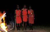 Maasai warriors dancing, Maasai Mara National Reserve, Kenya