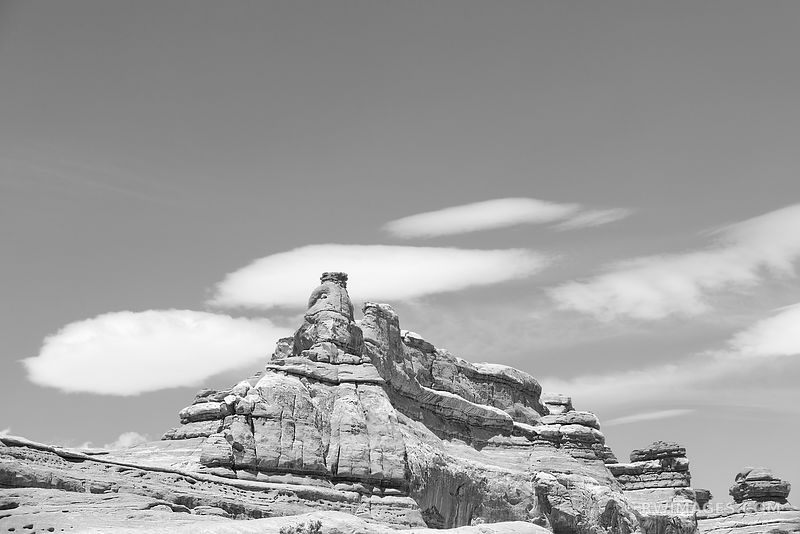 RED ROCKS THE NEEDLES SECTION CANYONLANDS NATIONAL PARK UTAH BLACK AND WHITE