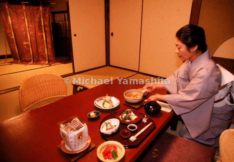 A scene from the Tawaraya Inn in Kyoto, Japan. Service at such a first-class traditional 'ryokan' is fit for royalty, and is ...