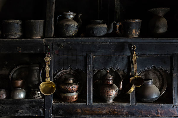 Traditional Kitchen Utensils and Pots in 100-Year Old Kitchen