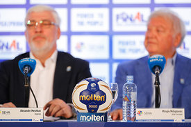 Alexander Meshkov and Michael Wiederer during the Final Tournament - Closing press conference - Final Four - SEHA - Gazprom l...