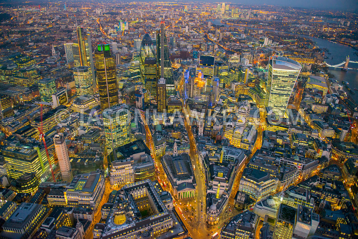 Night aerial view over City of London