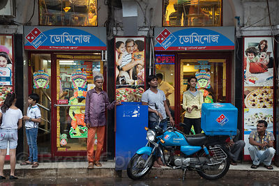 Domino's Pizza in busy Newmarket, Kolkata, India. Western chains are becoming more popular with India's middle and upper clas...