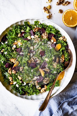 Citrusy Roasted Beet and Kale Salad