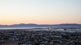 Wide Shot: LAX & the Santa Monica Mountain Range
