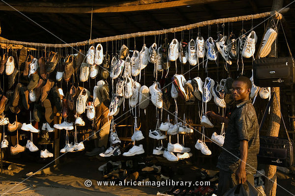 Mozambique, Beira, shoe store in the market.