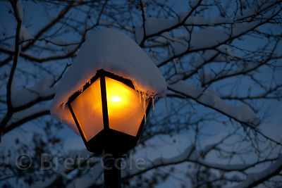 A lamppost at dusk in the record snows of Winter 2010, Gaithersburg, Maryland