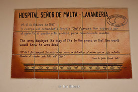 A plaque in memory of Che Guevara at the Vallegrande hospital in Bolivia.
