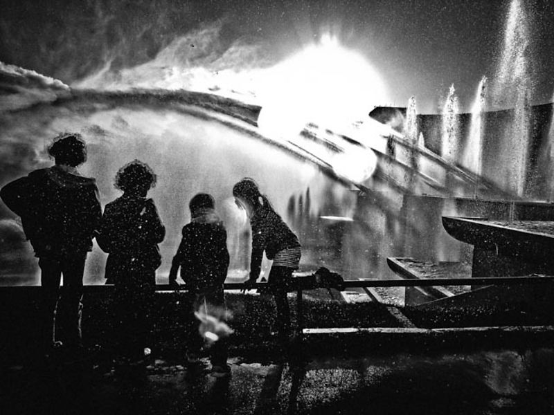 My own 'making of memories monochrome'. Molly, Louis, Asa and Jacob at the Trocadero Fountain, Paris, back in the olden days.
