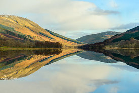 A very calm autumn day at Loch Voil, near Balquhidder in the Loch Lomond and Trossachs National Park, Scotland.