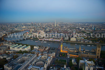 London. Aerial view lookign across the River Thames from Westminster to Lambeth