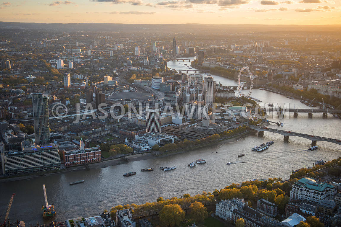 ITN, London Eye, London Television Centre, national theatre, Oxo Tower, river thames, South Bank, Southbank, Waterloo  Statio...