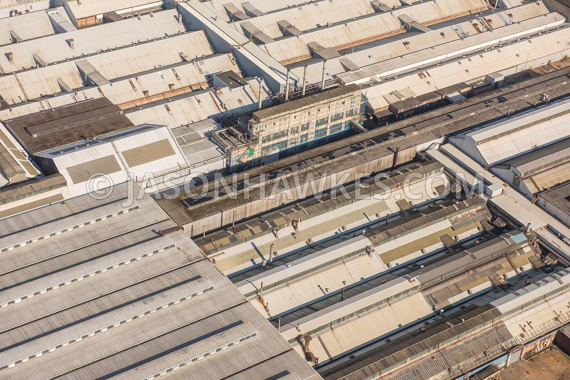 Aerial view of London, industrial units