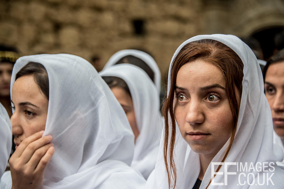 A Cere Sal or Yazidi New Year procession of survivors of the Yazidi genocide perpetrated by ISIS in 2014.