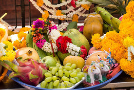 Fruits and flowers at Erawan Shrine in Bangkok, Thailand.
