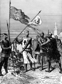 Richard the Lionhearted at siege of Acre during Crusades