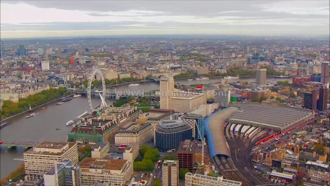 Aerial footage of Waterloo and South Bank, London