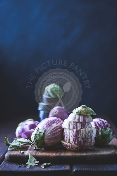Eggplant, aubergines on a cutting board
