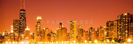 Chicago Skyline at Night Panoramic Photo in Orange