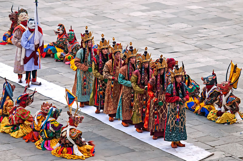 This photograph of a group of folk dancers waiting for their turn to perform was shot in Bhutan.