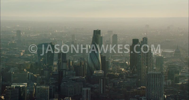 London Aerial Footage of City of London Skyline