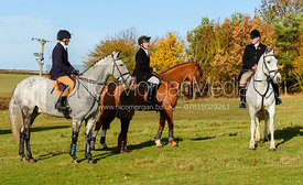Helen Lovegrove, William Grant, James Holliday at the meet. The Belvoir Hunt at Debdale Farm 10/11
