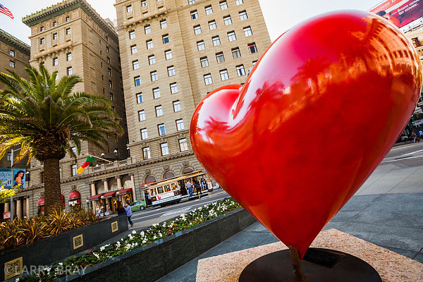 Giant red heart sculpture in Union Square, San Francisco, USA