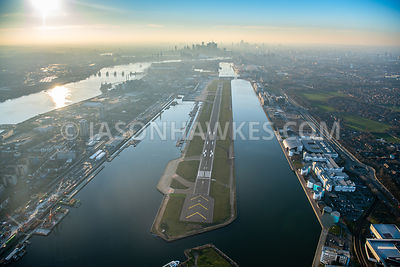 Aerial view of London City Airport, Royal Albert Dock, King George V Dock, London.