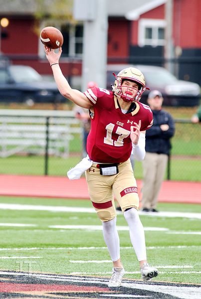 Coe College's Quentin White (17) tosses a pass against Central during the first half of play at Clark Field in Cedar Rapids o...