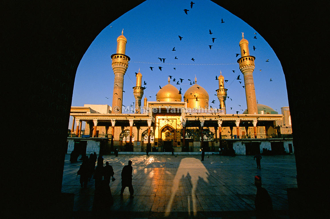 At dawn, Khadimain Mosque is shown in its full splendor.