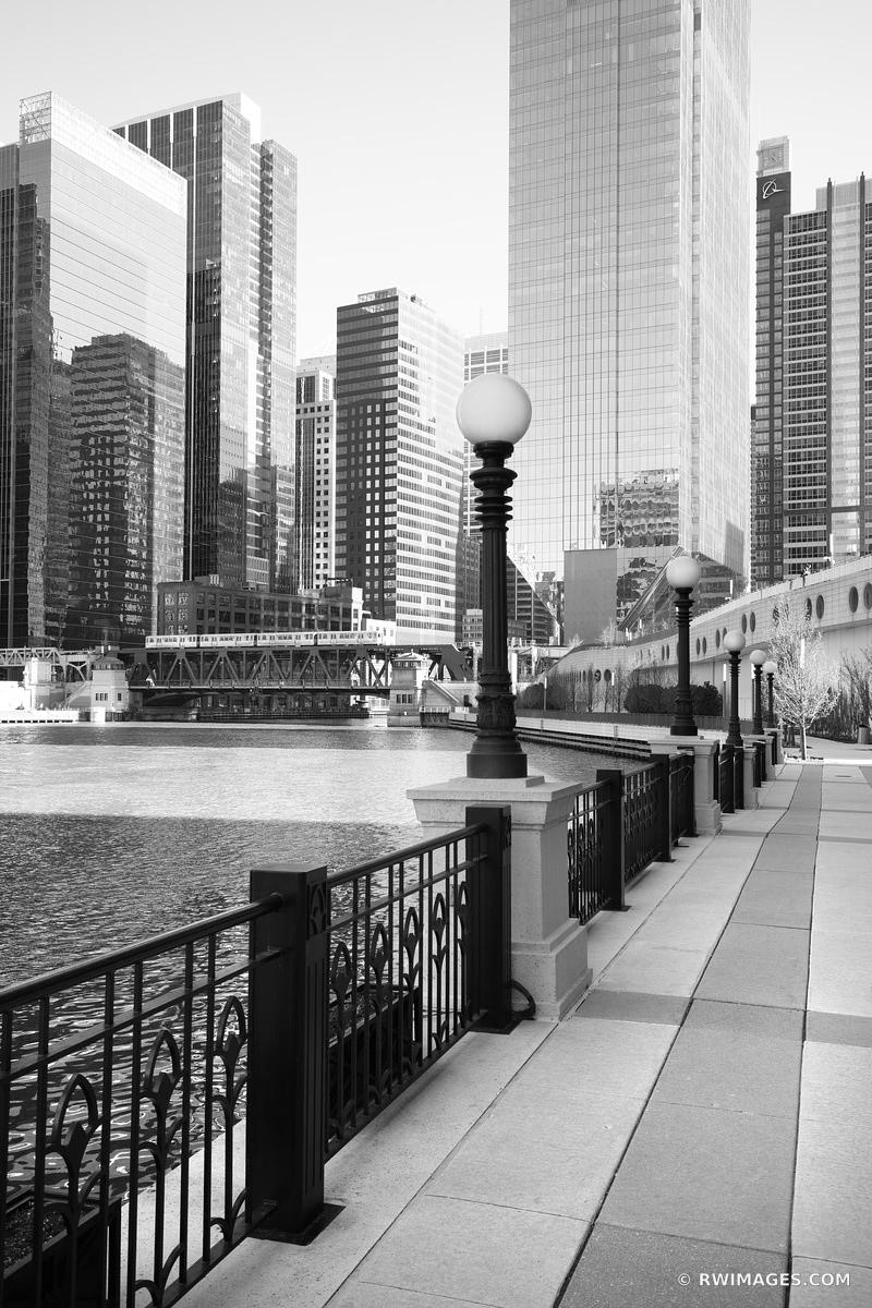 CHICAGO RIVER RIVERSIDE WALKWAY CHICAGO ILLINOIS BLACK AND WHITE VERTICAL