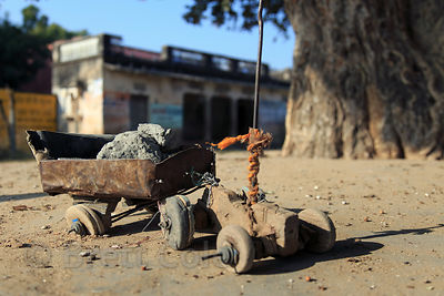 A favorite photo, a primitive toy tractor, Sidiyas village, Rajasthan, India. Rock mining is common in the area, and the toy ...