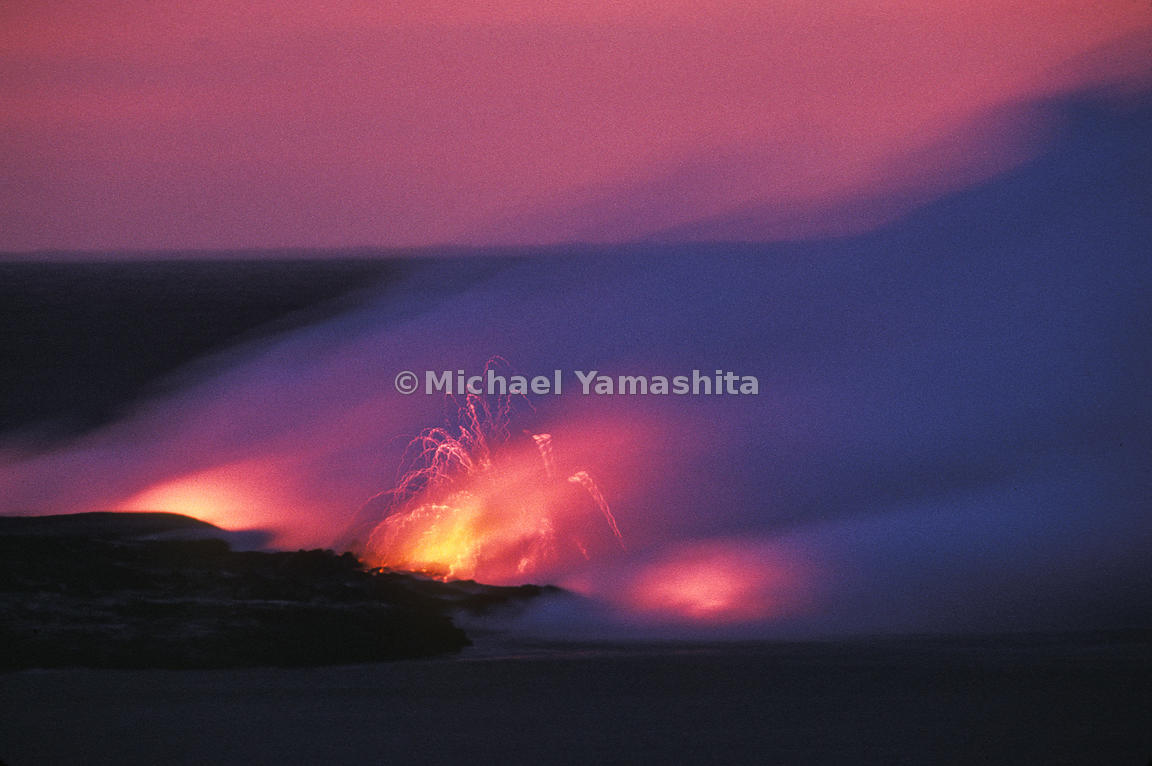 Lava flows to the ocean in Hawaii's Volcano National Park.