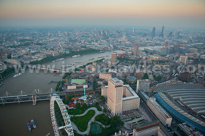 Aerial view over Waterloo at dusk, London